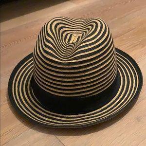 BCBG MAXAZRIA fedora style straw hat OS